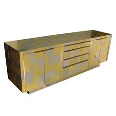 Cityscape Credenza in Brass and Chrome by Paul Evans