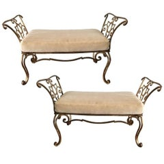 Exceptional Pair of Jean Charles Moreux Gilt Iron Bench with Mohair Cushions