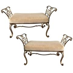 Exceptional Pair ofJean Charles Moreux Gilt Iron Bench with Mohair Cushions