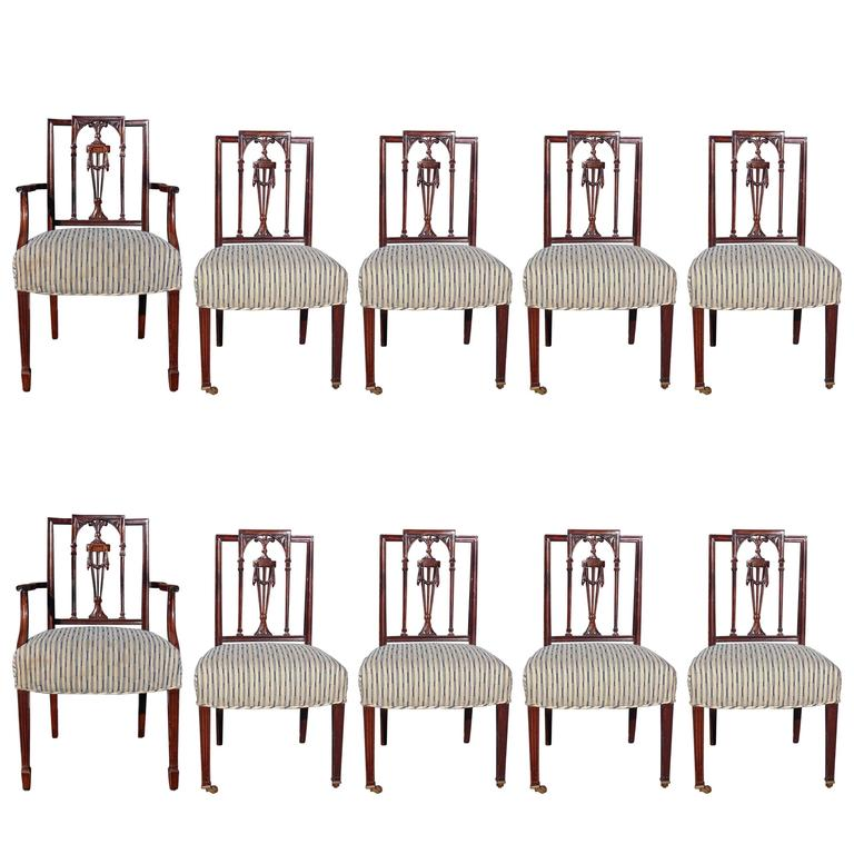 Set of ten new york federal neoclassical mahogany dining