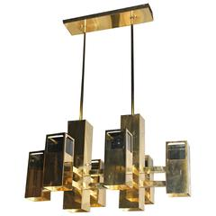 Robert Sonneman Brass Chandelier Cube Smoked Lucite Cityscape Column