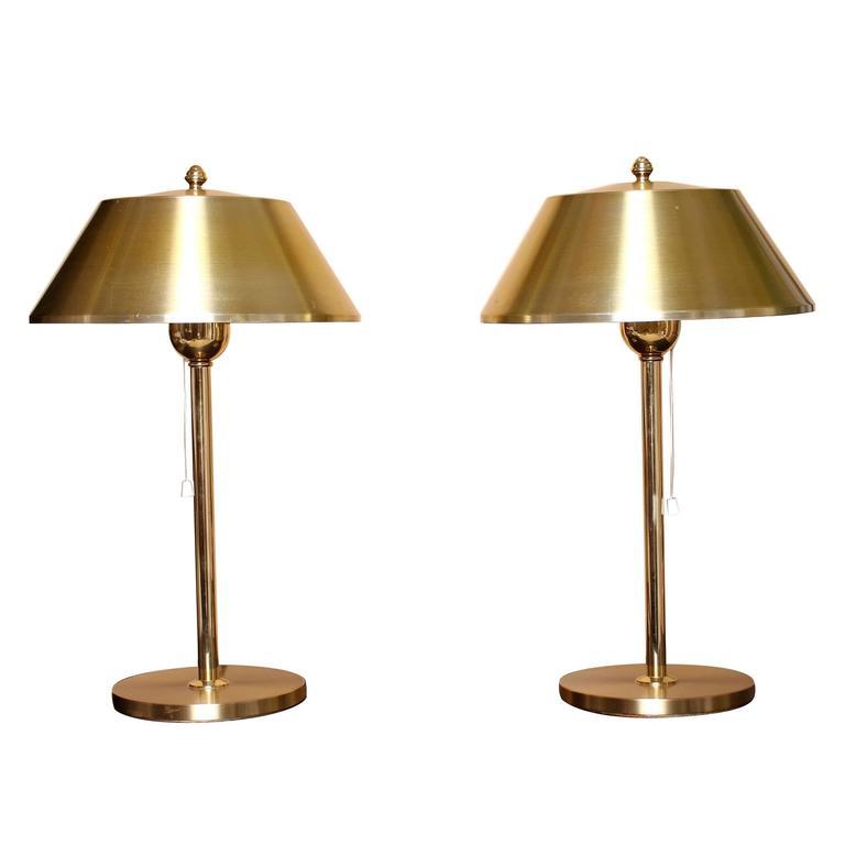 Brass Bedside Wall Lamps : Brass Bedside Lamps by Ewa Varnamo at 1stdibs