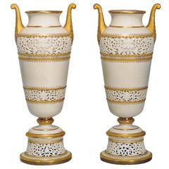 Pair of Grainger & Co. Worcester Amphora Vases