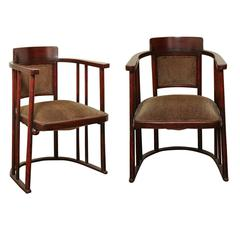 Vienna Secession Pair of Armchairs by Josef Hoffmann