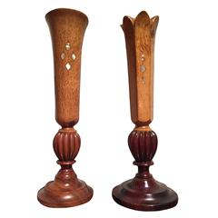 Pair of German Art Deco karelian birch candlesticks with mother-of-pearl inlay
