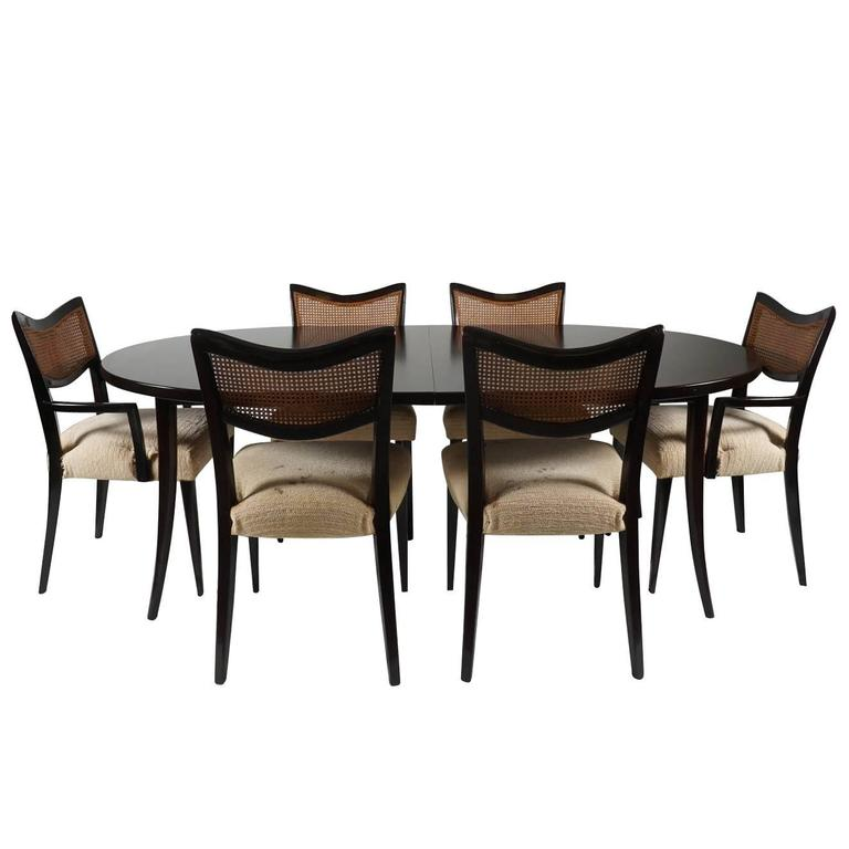 Harvey Probber Dining Suite, Table, Two Leaves and Six Chairs For Sale