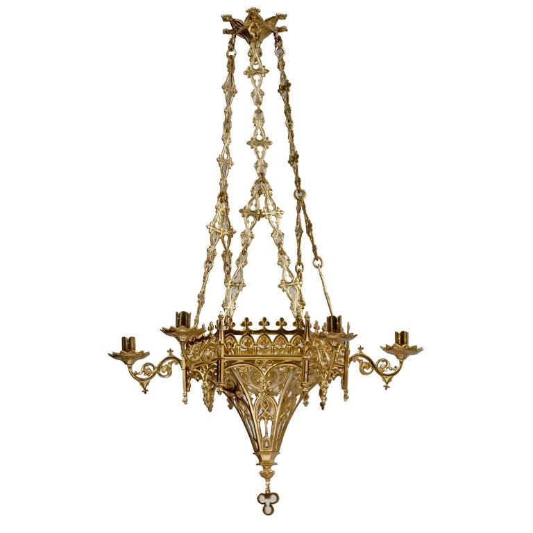 Gothic Revival Hexagonal 6-Light Chandelier