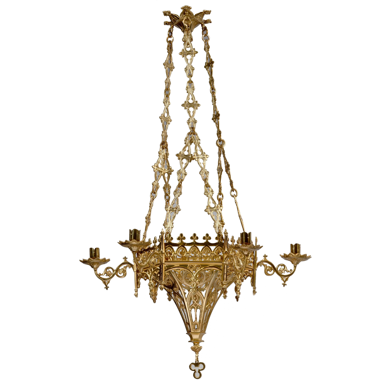 Gothic revival hexagonal 6 light chandelier at 1stdibs aloadofball Images