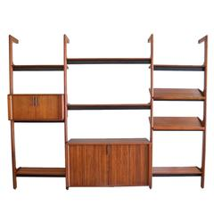 Free Standing Walnut 3 Section Shelving Unit by Barzilay