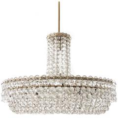 Large Bakalowits Chandelier, Nickel Brass Crystals, 1960s