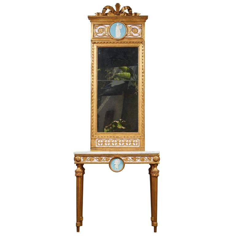1790's Swedish White Marble and Gilded Console and Mirror