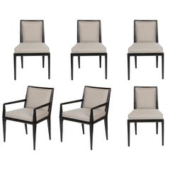 Six Black Lacquer Dining Chairs by Robsjohn-Gibbings