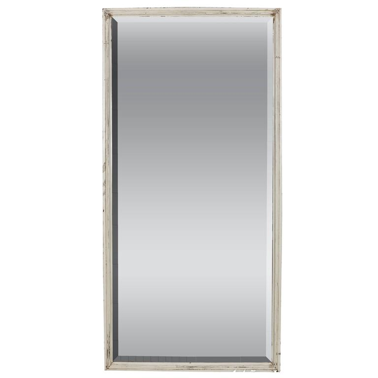 French White Framed Beveled Mirror