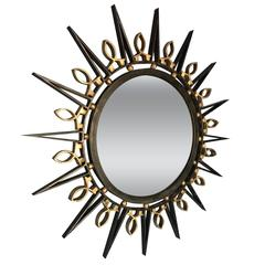 Exceptional 1950's Arturo Pani, Iron and Solid Brass Accents , Mirror