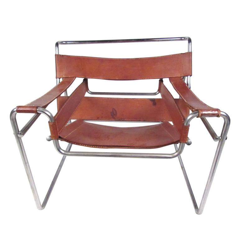 Marcel Breuer Wassily Style Leather Strap Chair For Sale