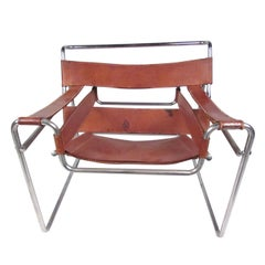 Marcel Breuer Wassily Style Leather Strap Chair