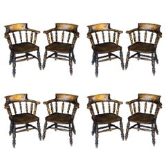 Set of Eight English Bow Arm Chairs