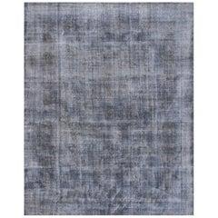 Apadana - Large Mid-20th C. Vintage Pakistani Grey Overdyed Rug, 10.02x13.01