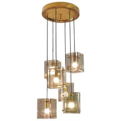 Bright and Brilliant Italian Chandelier in the Style of Fontana Arte