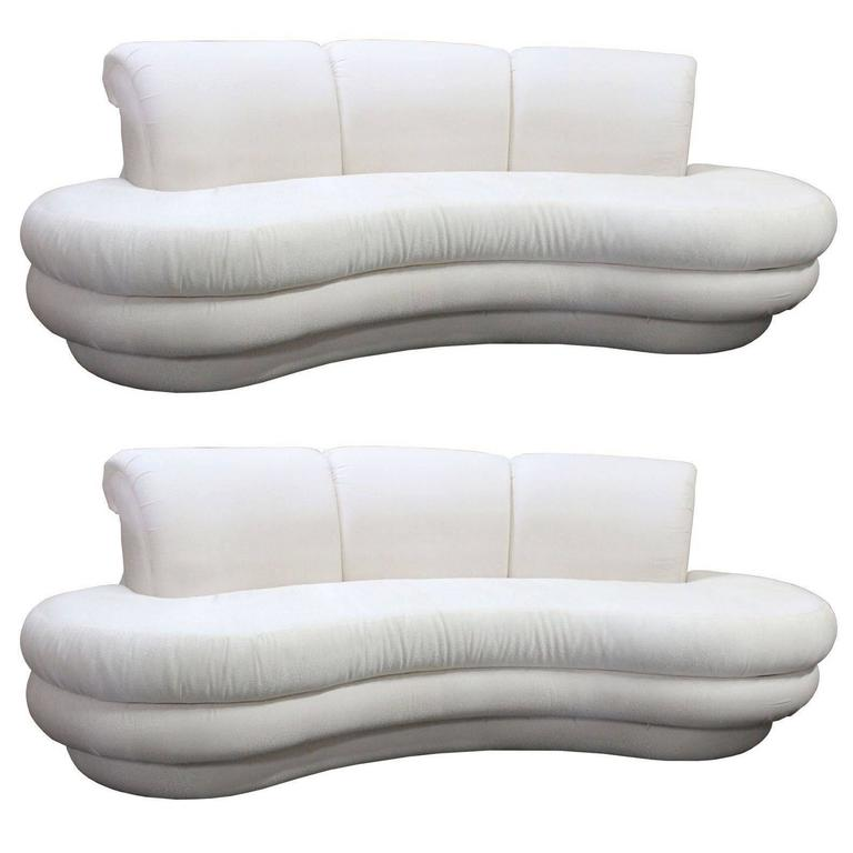 Pair Or Single Vintage Adrian Pearsall Kidney Cloud Curved Sofas For