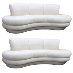 Adrian Pearsall Vintage Pair of Couch Sofas Curved Hollywood Regency