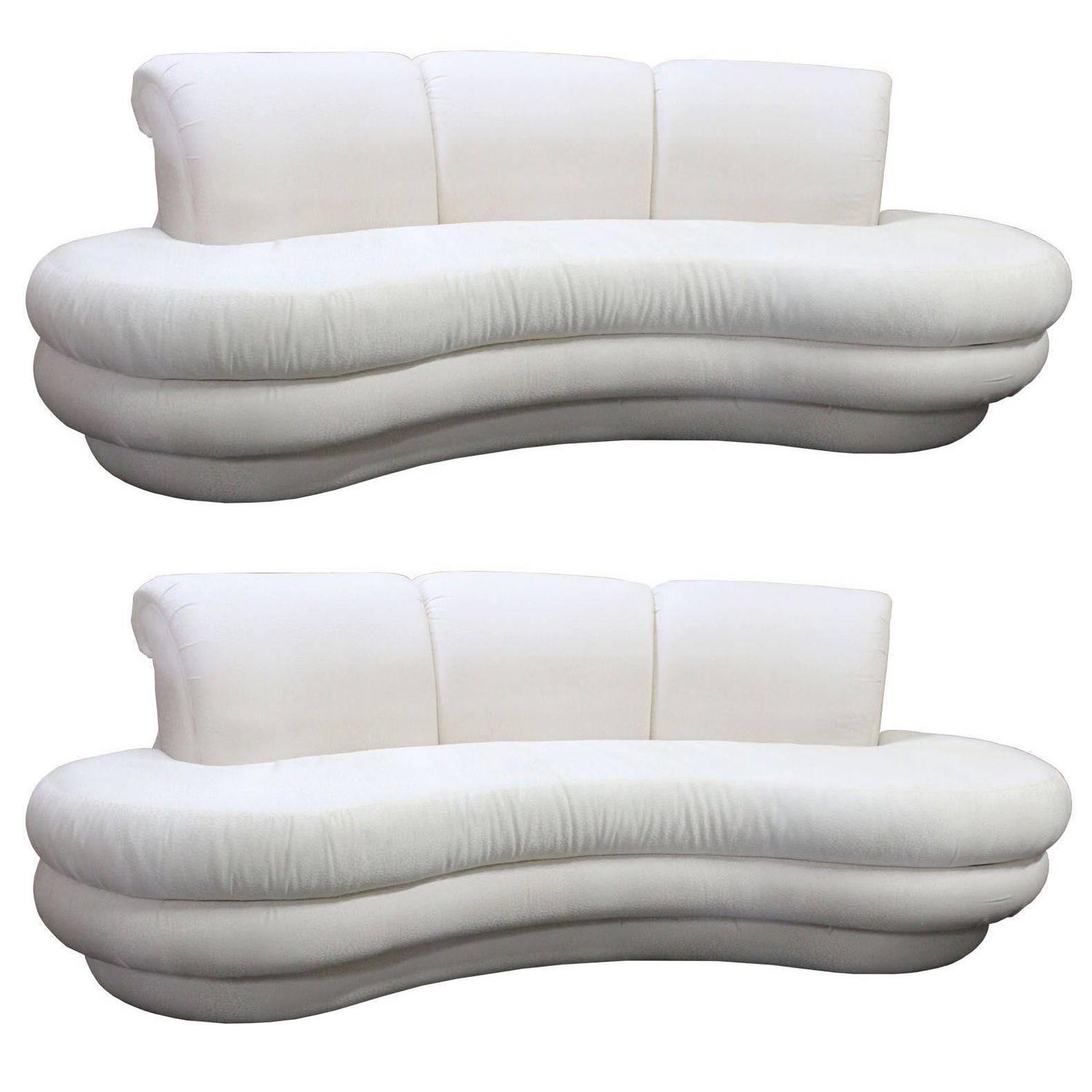 Pair or Single Vintage Adrian Pearsall Kidney Cloud Curved Sofas
