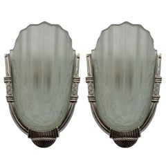 French Art Deco Wall Sconces by Degue