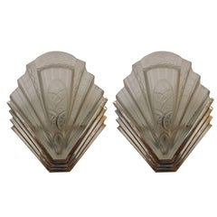 Pair of French Art Deco Wall Sconces signed by Frontisi