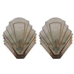 French Art Deco Wall Sconces by Frontisi
