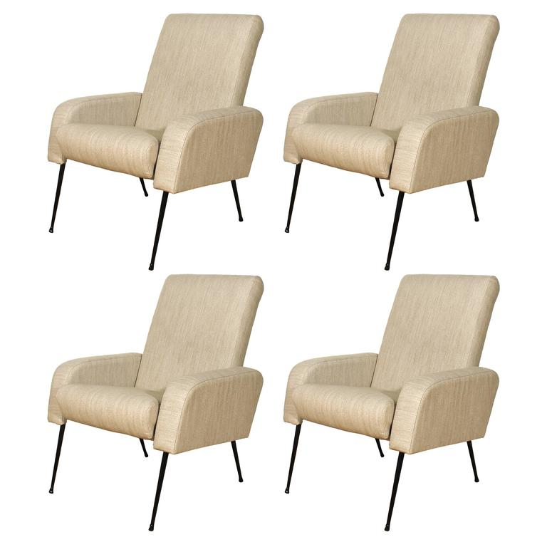 1950s Set of Four Airbone Style Armchairs, steel, gray felt, strap seat - France