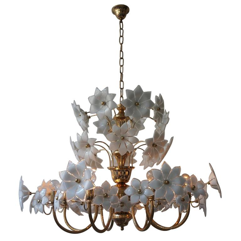 Huge Palwa Gilded Brass and Glass Flower Chandelier