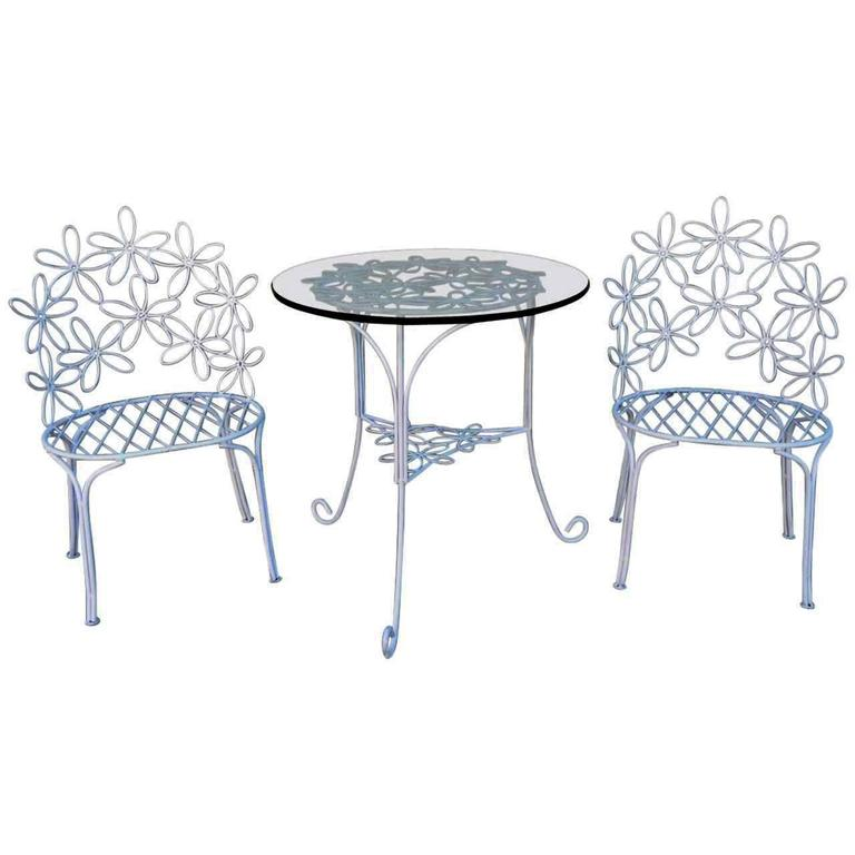 charming wrought iron patio chairs and table at 1stdibs