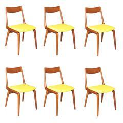 Boomerang Dining Chairs by Erik Christiansen, Set of SIX, Yellow