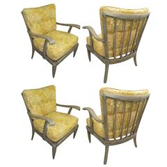 Set of Four French 1950s Cerused-Oak Armchairs, Lounge Chairs