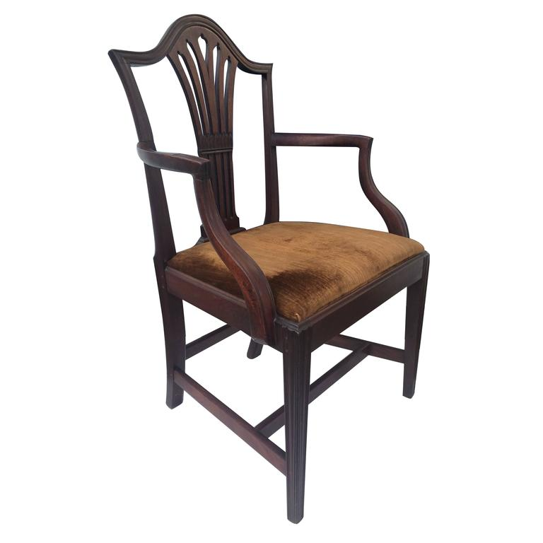 English Mahogany Hepplewhite Armchair, 1780 In Good Condition For Sale In Southampton, NY
