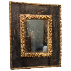 Carved Giltwood and Black Polychrome Spanish Baroque Mirror Frame