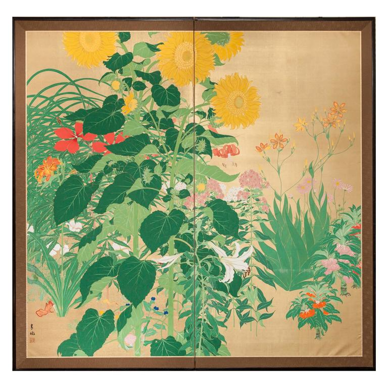 Japanese Two Panel Screen: Summer Flowers