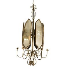 Pair of Italian Etched Mirror Panel Hanging Candlestick Chandeliers