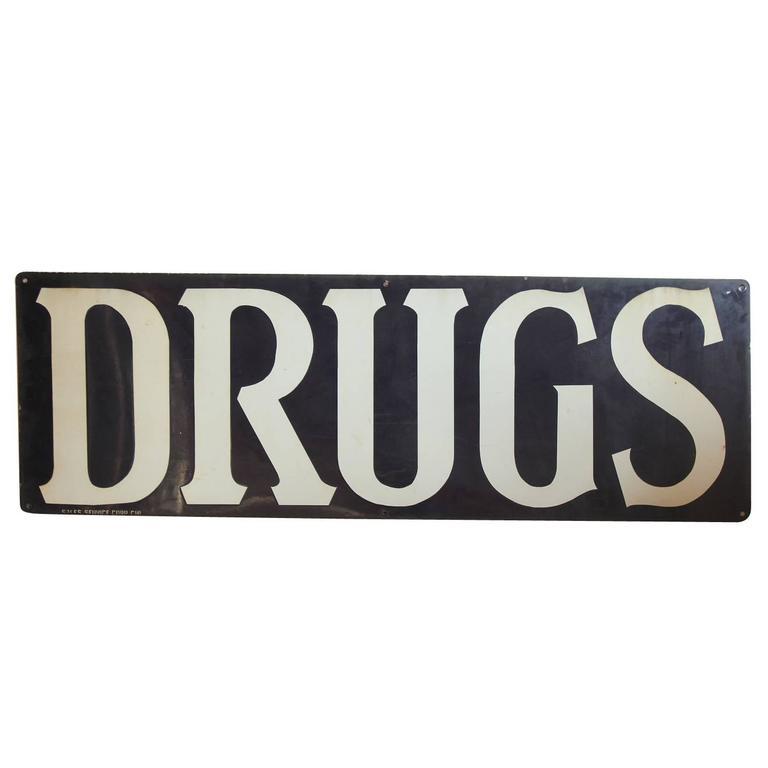 1930s American Enamel Sign DRUGS