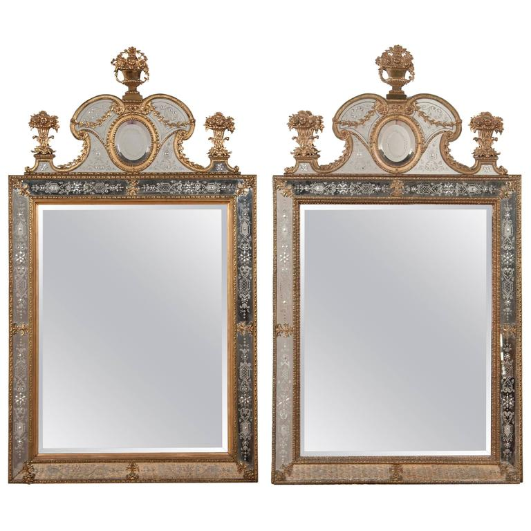 Matched Pair Of Swedish Mirrors After The Model By Gustav Precht For