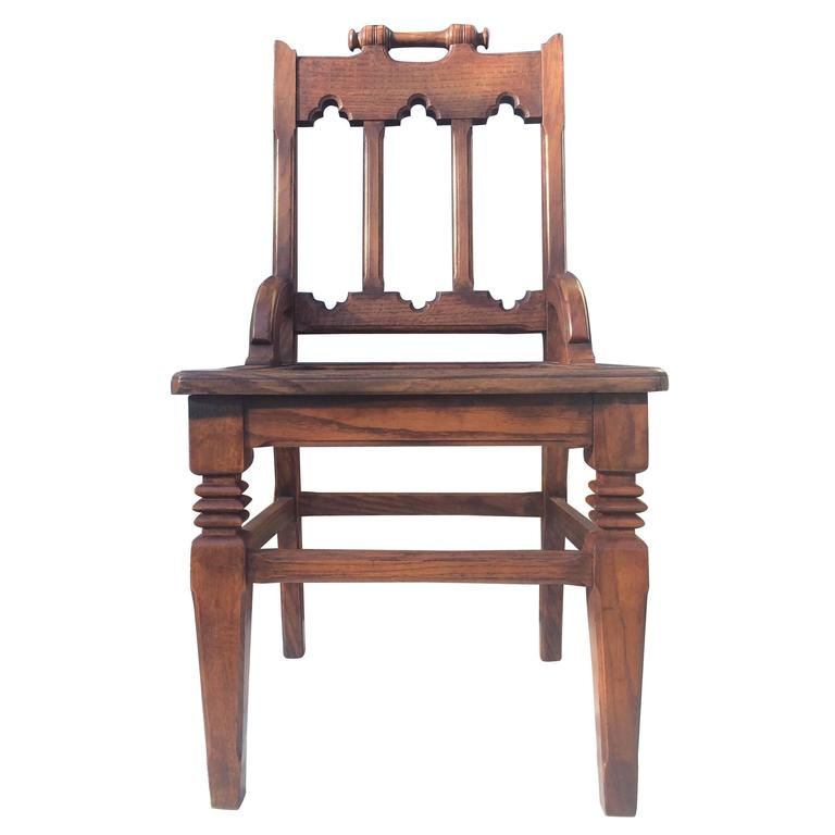 English Oak Hall Chair For Sale