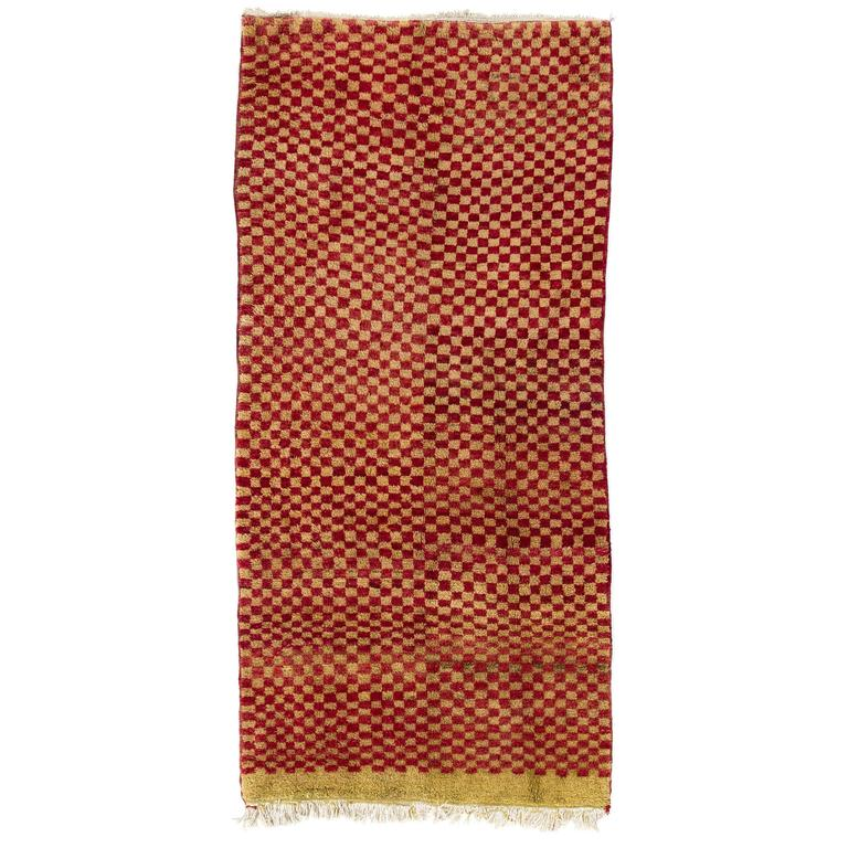 "Yellow Checkered Rug: Checkered Midcentury ""Tulu"" Rug In Red And Yellow Green"