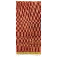 """Checkered Midcentury """"Tulu"""" Rug in Red and Yellow Green Colors"""