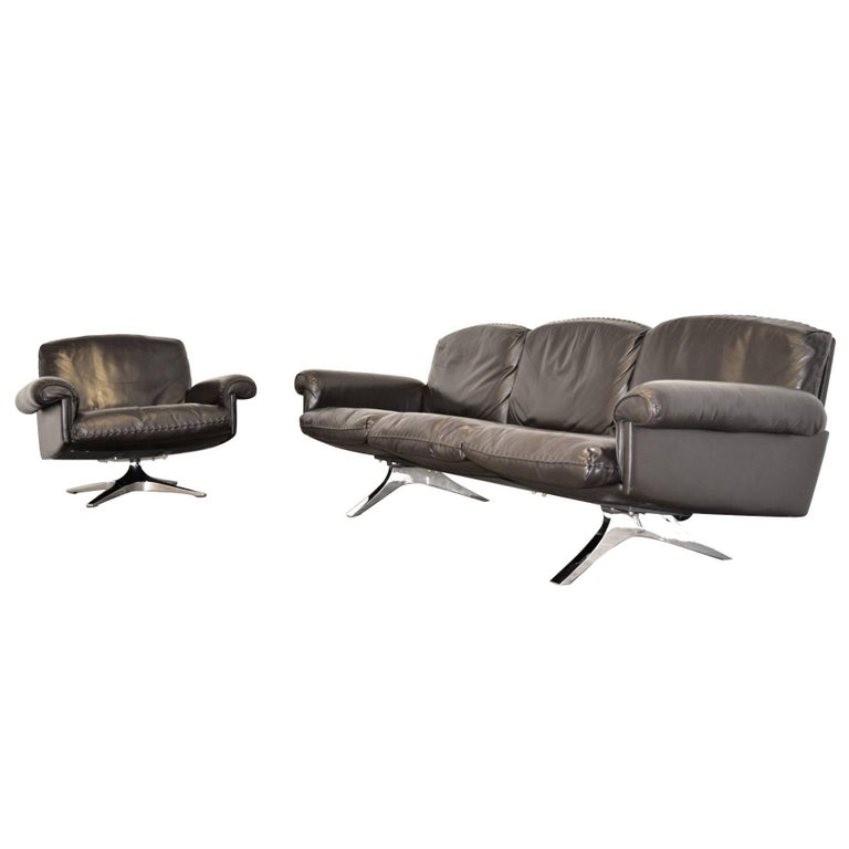 Vintage De Sede DS 31 Three-Seat Sofa and Swivel Lounge Armchair 1970s