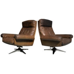 Vintage De Sede DS 31 High-Back Swivel Lounge Armchairs 1970`s