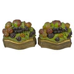 Early 20th Century Pair of Painted and Gilded Chalkware Autumn Fruit Bookends