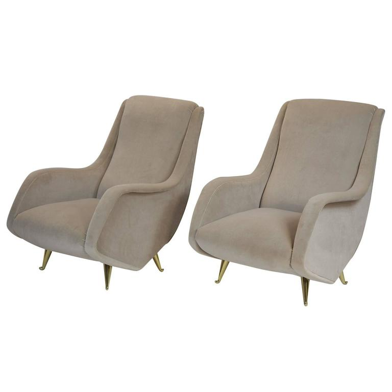 Fine Italian Lounge Chairs Manufactured by ISA,  Milano, Italy 1950's For Sale