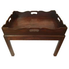 English George III Mahogany Tray on Stand, circa 1800