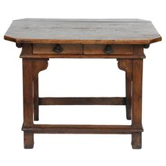 An 18th Century Spanish Walnut Stretchered Table with Drawers, circa 1770