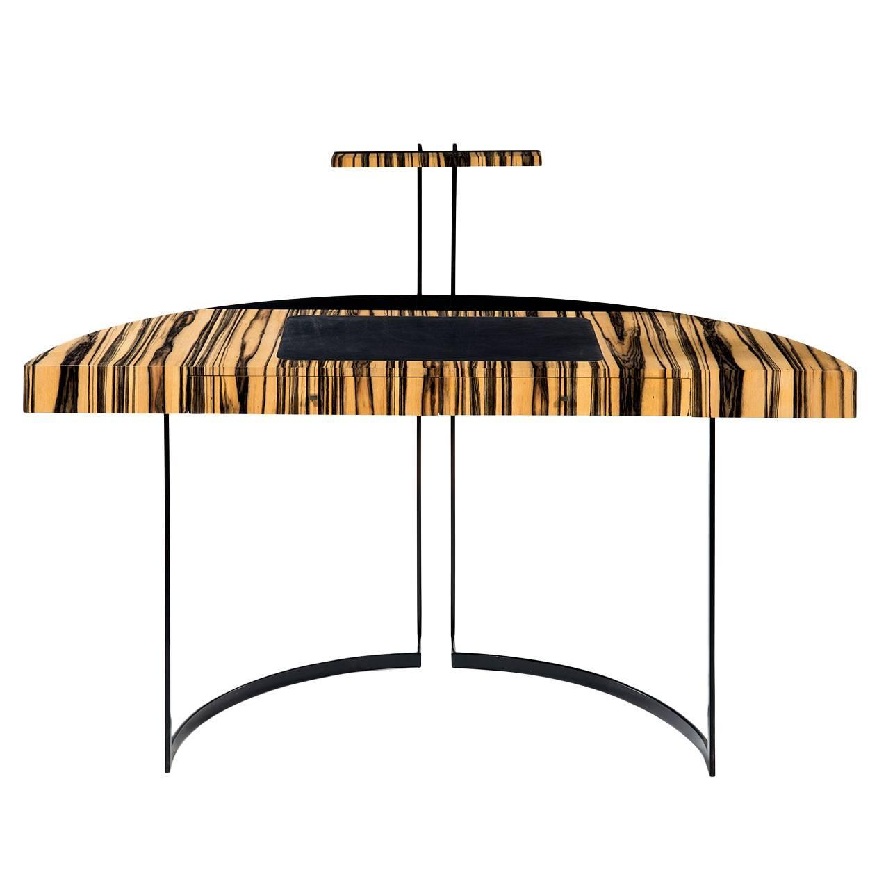 21th Century Desk Withe Ebony And Black Leather With Metal